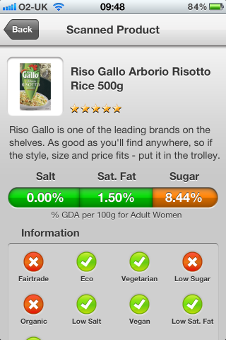 Can I Eat It iPhone App lets you know what is in the Riso Gallo Arborio Risotto Rice barcode