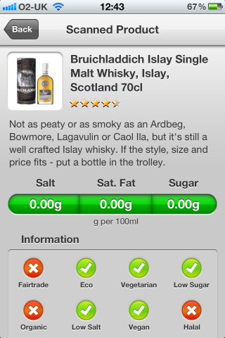 Can I Eat It iPhone App lets you know what is in the Bruichladdich Islay Single Malt Whisky, Islay, Scotland
