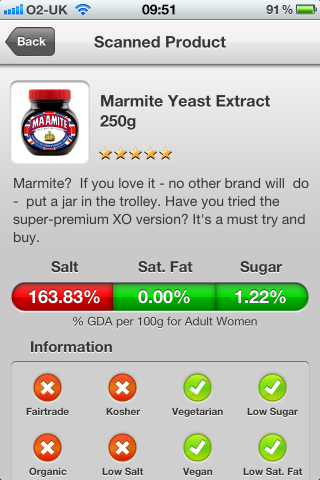 Can I Eat It iPhone barcode scanner and reader look at the ingredients of the Diamond Jubilee Marmite Yeast Extract.