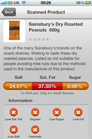 Can I Eat It iPhone App lets you know what is in the Sainsbury's Dry Roasted Peanuts
