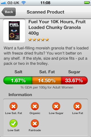 Can I Eat It iPhone App lets you know what is in the Fuel Your 10K Hours, Fruit Loaded Chunky Granola