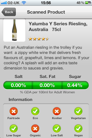 Can I Eat It iPhone App lets you know what is in the Yalumba Y Series Riesling, Australia barcode