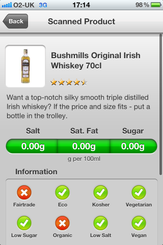 Can I Eat It iPhone App lets you know what is in the Bushmills Original Irish Whiskey