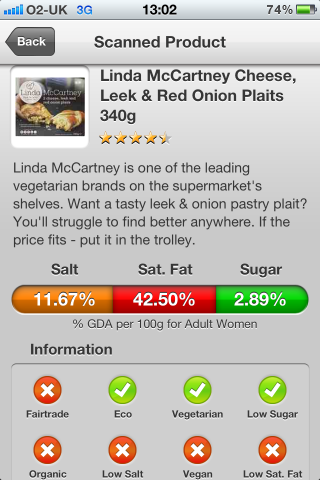 Can I Eat It iPhone App lets you know what is in the  Linda McCartney Cheese, Leek & Red Onion Plaits