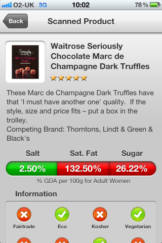 Can I Eat It iPhone App lets you know what is in the Waitrose Seriously Chocolate Marc de Champagne Dark Truffles