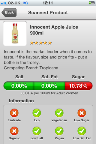 Can I Eat It iPhone App lets you know what is in the  innocent smoothie apple juice.