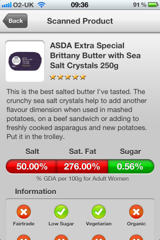Can I Eat It? The Sunday Times Top App allowing you to scan barcodes from your favourite supermarket products. Can I Eat It iPhone App lets you know what is in the ASDA Extra Special Brittany Butter with Sea Salt Crystals