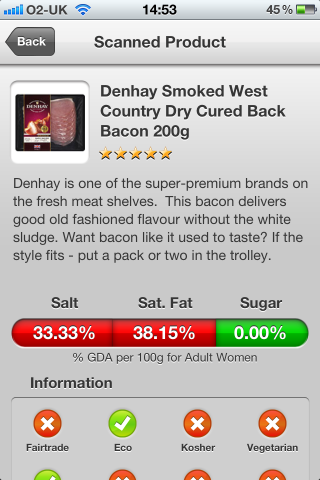 Can I Eat It iPhone App lets you know what is in the Denhay Smoked West Country Dry Cured Back Bacon