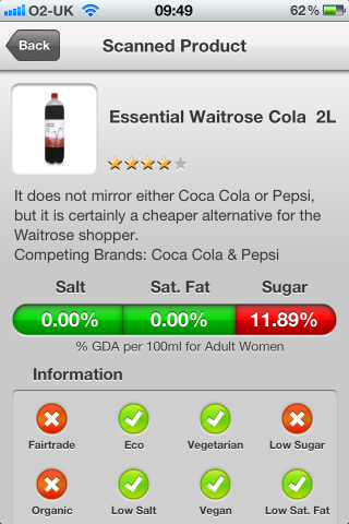 Can I Eat It iPhone App lets you know what is in the Essential Waitrose Cola barcode