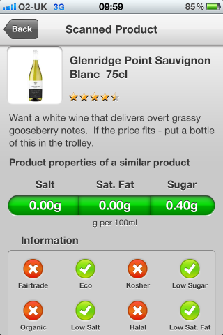 Can I Eat It iPhone App lets you know what is in the Glenridge Point Sauvignon Blanc