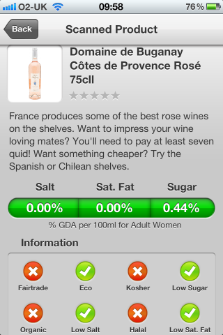 Can I Eat It? The Sunday Times Top App allowing you to scan barcodes from your favourite supermarket products. Can I Eat It iPhone App lets you know what is in the Domaine de Buganay Côtes de Provence Rosé France