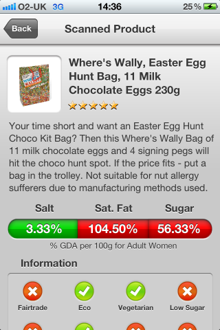 Can I Eat It iPhone App lets you know what is in the Where's Wally, Easter Egg Hunt Bag, 11 Milk Chocolate Eggs