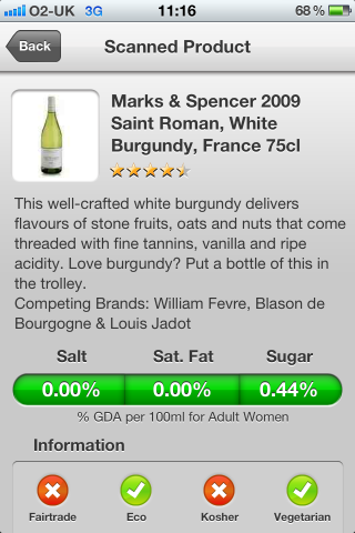Can I Eat It iPhone App lets you know what is in the Marks & Spencer 2009 Saint Roman, White Burgundy, France with a barcode scanner app