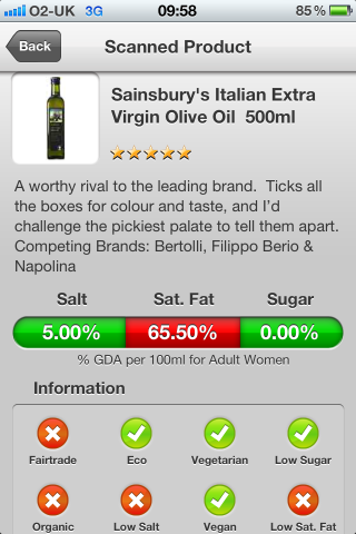 Can I Eat It iPhone App lets you know what is in the Sainsbury's Italian Extra Virgin Olive Oil